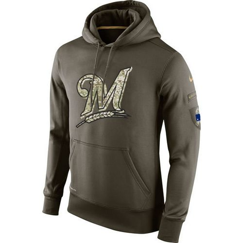 MLB Men's Milwaukee Brewers Nike Olive Salute To Service KO Performance Hoodie