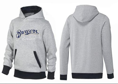 MLB Men's Nike Milwaukee Brewers Pullover Hoodie - Grey/Black