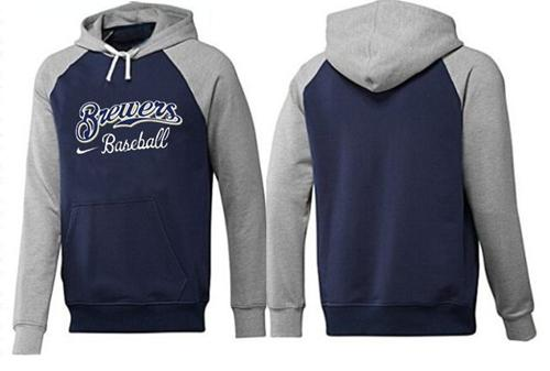 MLB Men's Nike Milwaukee Brewers Pullover Hoodie - Navy/Grey