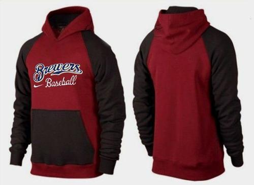 MLB Men's Nike Milwaukee Brewers Pullover Hoodie - Red/Brown