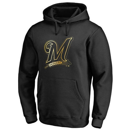 MLB Milwaukee Brewers Gold Collection Pullover Hoodie - Black