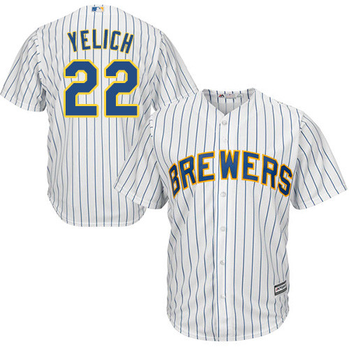 Men's Majestic Milwaukee Brewers #22 Christian Yelich Replica White Alternate Cool Base MLB Jersey