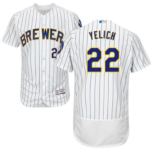 Men's Majestic Milwaukee Brewers #22 Christian Yelich White Alternate Flex Base Authentic Collection MLB Jersey
