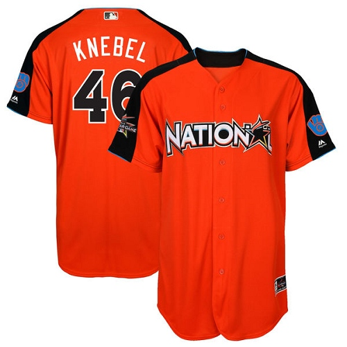 Men's Majestic Milwaukee Brewers #46 Corey Knebel Authentic Orange National League 2017 MLB All-Star MLB Jersey