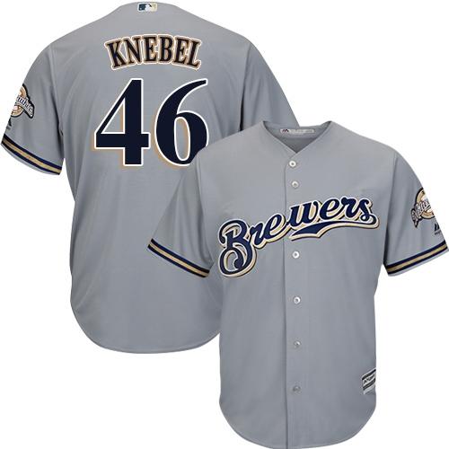 Men's Majestic Milwaukee Brewers #46 Corey Knebel Replica Grey Road Cool Base MLB Jersey