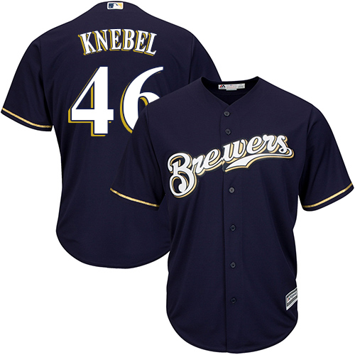 Men's Majestic Milwaukee Brewers #46 Corey Knebel Replica Navy Blue Alternate Cool Base MLB Jersey