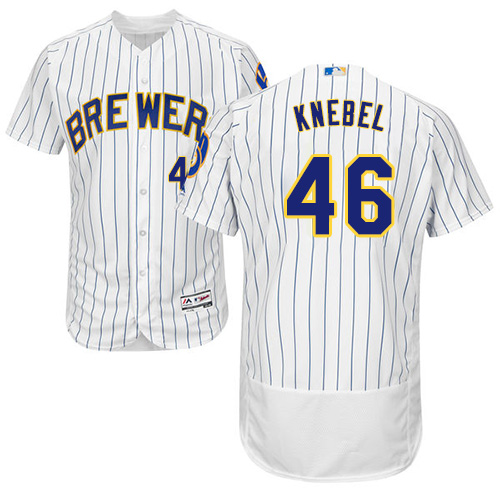 Men's Majestic Milwaukee Brewers #46 Corey Knebel White/Royal Flexbase Authentic Collection MLB Jersey