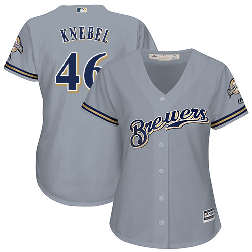 Women's Majestic Milwaukee Brewers #46 Corey Knebel Authentic Grey Road Cool Base MLB Jersey