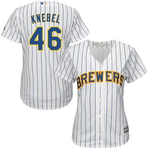 Women's Majestic Milwaukee Brewers #46 Corey Knebel Authentic White Alternate Cool Base MLB Jersey