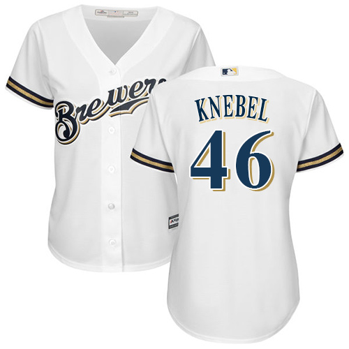 Women's Majestic Milwaukee Brewers #46 Corey Knebel Replica White Home Cool Base MLB Jersey