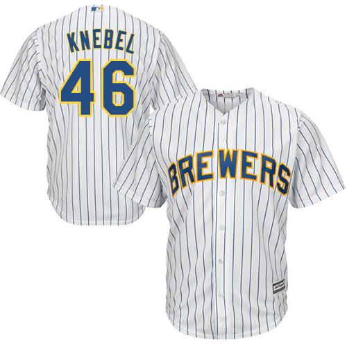 Youth Majestic Milwaukee Brewers #46 Corey Knebel Authentic White Alternate Cool Base MLB Jersey