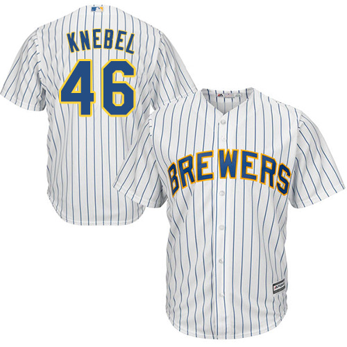 Youth Majestic Milwaukee Brewers #46 Corey Knebel Replica White Alternate Cool Base MLB Jersey