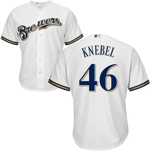 Youth Majestic Milwaukee Brewers #46 Corey Knebel Replica White Home Cool Base MLB Jersey
