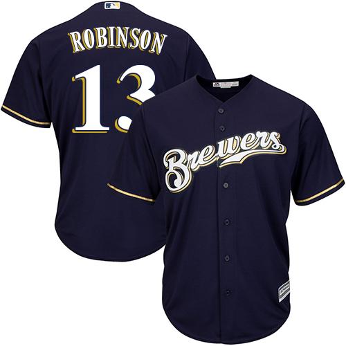 Men's Majestic Milwaukee Brewers #13 Glenn Robinson Replica Navy Blue Alternate Cool Base MLB Jersey