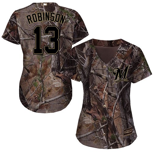 Women's Majestic Milwaukee Brewers #13 Glenn Robinson Authentic Camo Realtree Collection Flex Base MLB Jersey