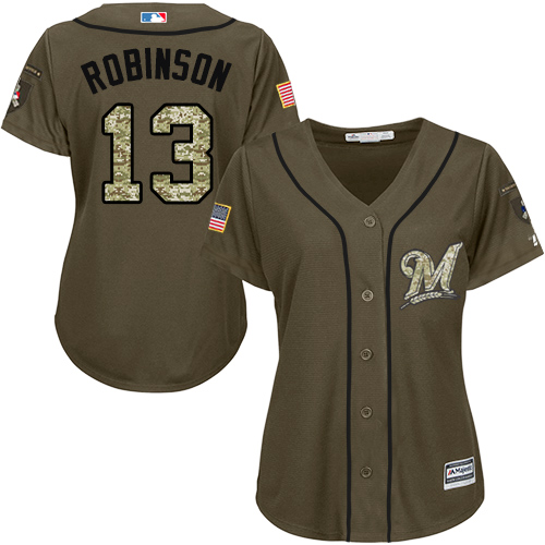 Women's Majestic Milwaukee Brewers #13 Glenn Robinson Authentic Green Salute to Service MLB Jersey