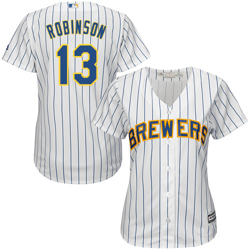 Women's Majestic Milwaukee Brewers #13 Glenn Robinson Authentic White Alternate Cool Base MLB Jersey