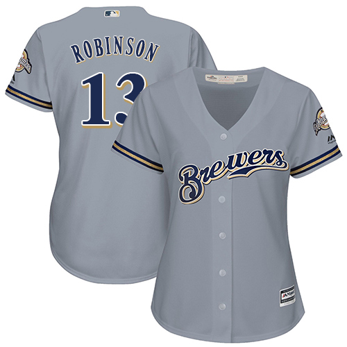 Women's Majestic Milwaukee Brewers #13 Glenn Robinson Replica Grey Road Cool Base MLB Jersey
