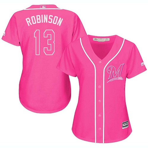 Women's Majestic Milwaukee Brewers #13 Glenn Robinson Replica Pink Fashion Cool Base MLB Jersey