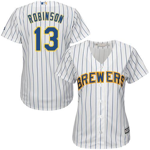 Women's Majestic Milwaukee Brewers #13 Glenn Robinson Replica White Alternate Cool Base MLB Jersey