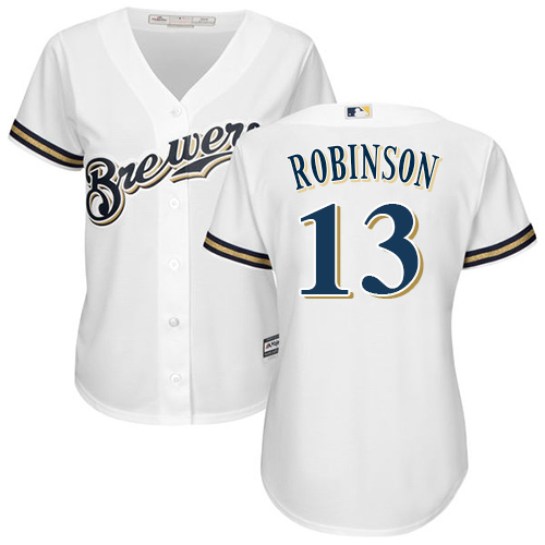 Women's Majestic Milwaukee Brewers #13 Glenn Robinson Replica White Home Cool Base MLB Jersey