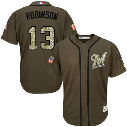 Youth Majestic Milwaukee Brewers #13 Glenn Robinson Authentic Green Salute to Service MLB Jersey