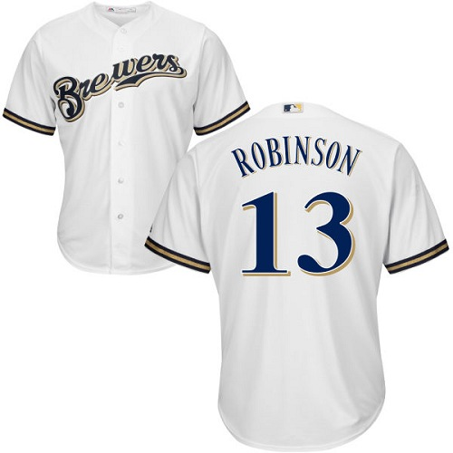Youth Majestic Milwaukee Brewers #13 Glenn Robinson Authentic White Home Cool Base MLB Jersey