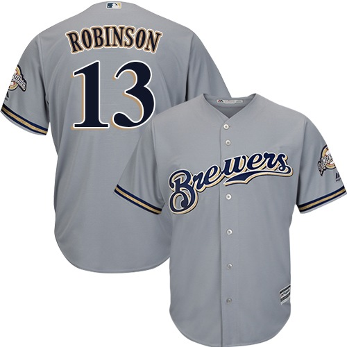 Youth Majestic Milwaukee Brewers #13 Glenn Robinson Replica Grey Road Cool Base MLB Jersey