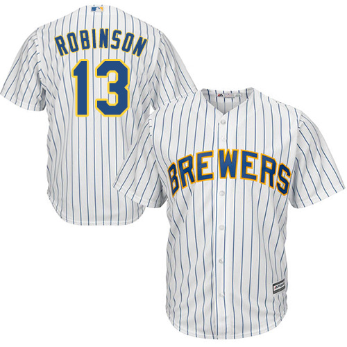 Youth Majestic Milwaukee Brewers #13 Glenn Robinson Replica White Alternate Cool Base MLB Jersey