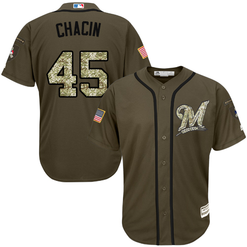 Men's Majestic Milwaukee Brewers #45 Jhoulys Chacin Authentic Green Salute to Service MLB Jersey