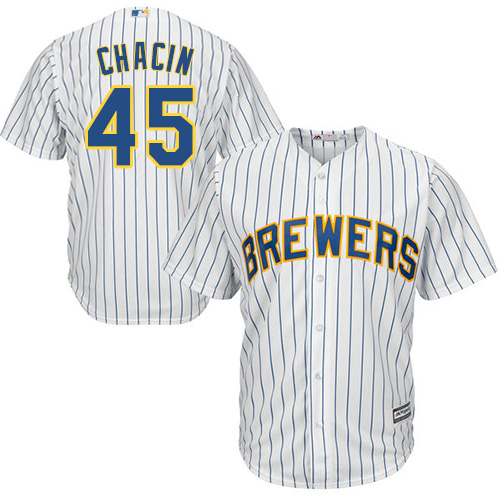 Men's Majestic Milwaukee Brewers #45 Jhoulys Chacin Replica White Alternate Cool Base MLB Jersey