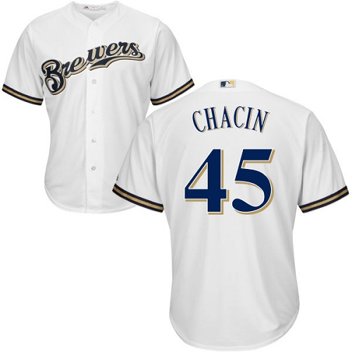 Men's Majestic Milwaukee Brewers #45 Jhoulys Chacin Replica White Home Cool Base MLB Jersey