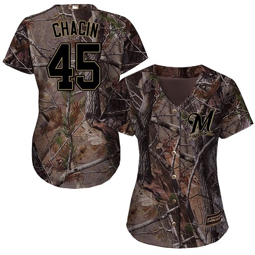 Women's Majestic Milwaukee Brewers #45 Jhoulys Chacin Authentic Camo Realtree Collection Flex Base MLB Jersey