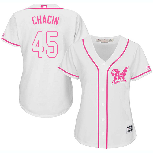 Women's Majestic Milwaukee Brewers #45 Jhoulys Chacin Replica White Fashion Cool Base MLB Jersey