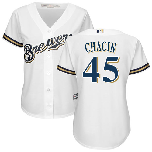Women's Majestic Milwaukee Brewers #45 Jhoulys Chacin Replica White Home Cool Base MLB Jersey