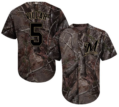 Men's Majestic Milwaukee Brewers #5 Jonathan Villar Authentic Camo Realtree Collection Flex Base MLB Jersey