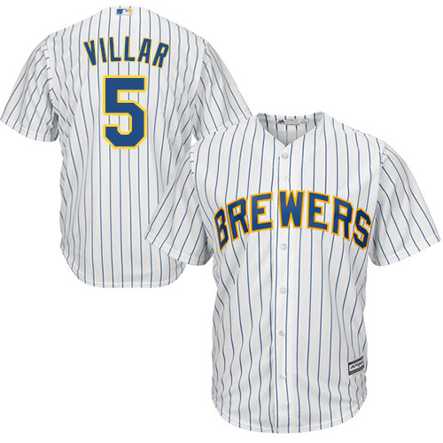 Men's Majestic Milwaukee Brewers #5 Jonathan Villar Replica White Alternate Cool Base MLB Jersey