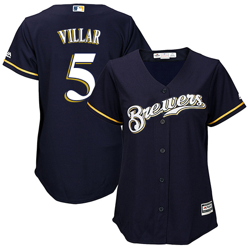 Women's Majestic Milwaukee Brewers #5 Jonathan Villar Authentic Navy Blue Alternate Cool Base MLB Jersey