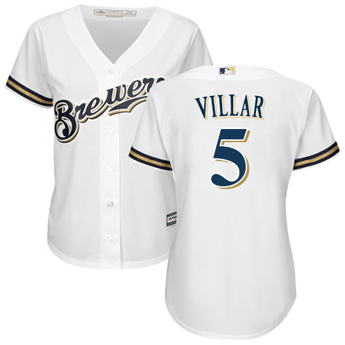 Women's Majestic Milwaukee Brewers #5 Jonathan Villar Replica White Home Cool Base MLB Jersey