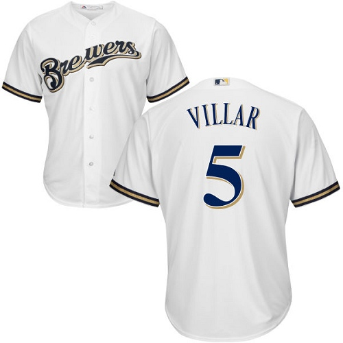 Youth Majestic Milwaukee Brewers #5 Jonathan Villar Authentic White Home Cool Base MLB Jersey