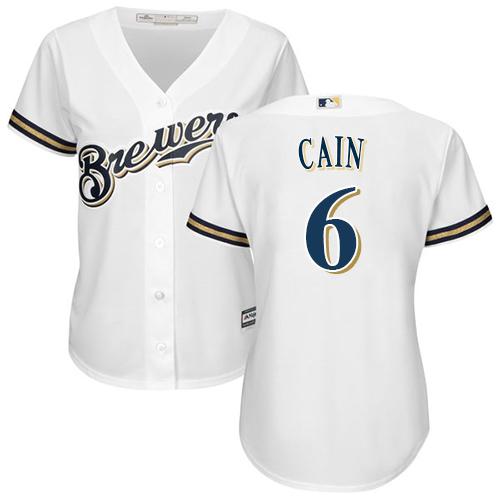 Women's Majestic Milwaukee Brewers #6 Lorenzo Cain Replica White Alternate Cool Base MLB Jersey
