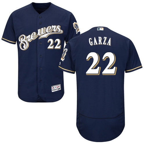 Men's Majestic Milwaukee Brewers #22 Matt Garza Navy Blue Alternate Flex Base Authentic Collection MLB Jersey