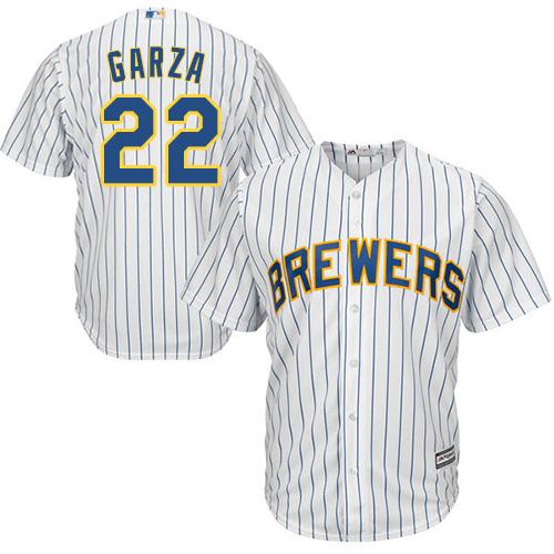 Men's Majestic Milwaukee Brewers #22 Matt Garza Replica White Alternate Cool Base MLB Jersey