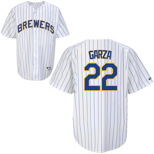 Men's Majestic Milwaukee Brewers #22 Matt Garza Replica White/Blue Strip MLB Jersey