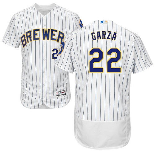 Men's Majestic Milwaukee Brewers #22 Matt Garza White Home Flex Base Authentic Collection MLB Jersey