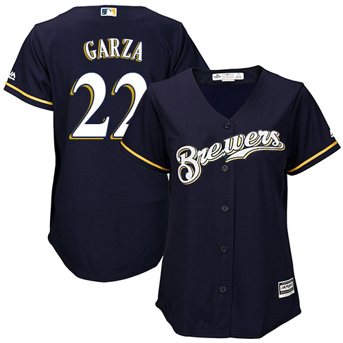 Women's Majestic Milwaukee Brewers #22 Matt Garza Authentic Navy Blue Alternate Cool Base MLB Jersey
