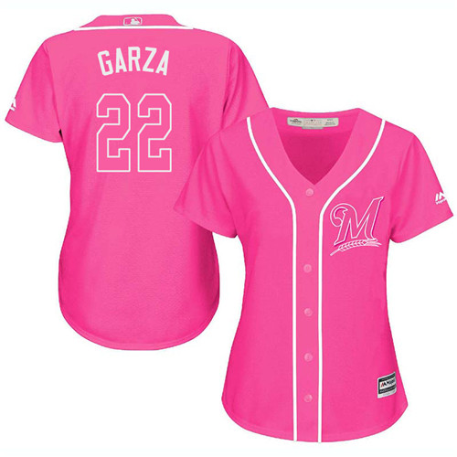 Women's Majestic Milwaukee Brewers #22 Matt Garza Authentic Pink Fashion Cool Base MLB Jersey