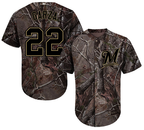 Youth Majestic Milwaukee Brewers #22 Matt Garza Authentic Camo Realtree Collection Flex Base MLB Jersey