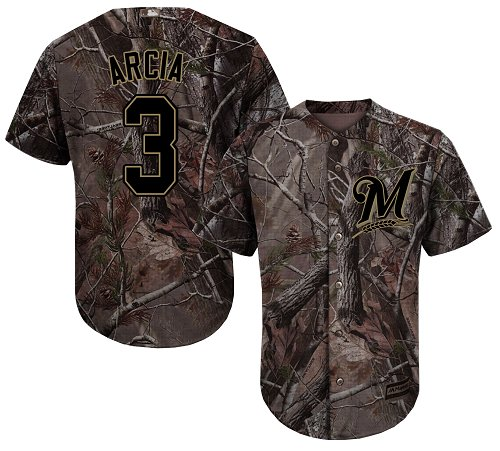Men's Majestic Milwaukee Brewers #3 Orlando Arcia Authentic Camo Realtree Collection Flex Base MLB Jersey