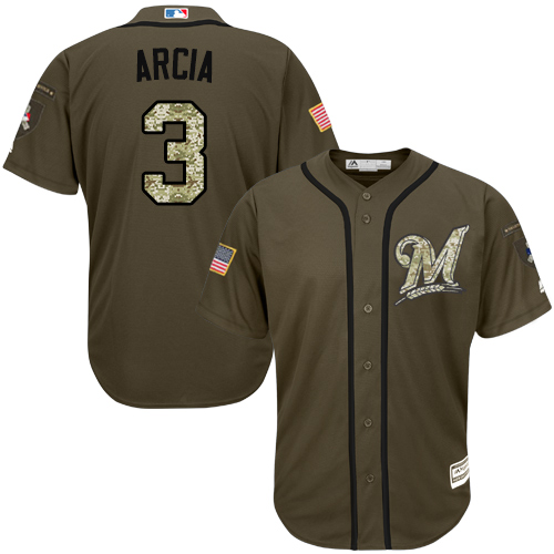 Men's Majestic Milwaukee Brewers #3 Orlando Arcia Authentic Green Salute to Service MLB Jersey